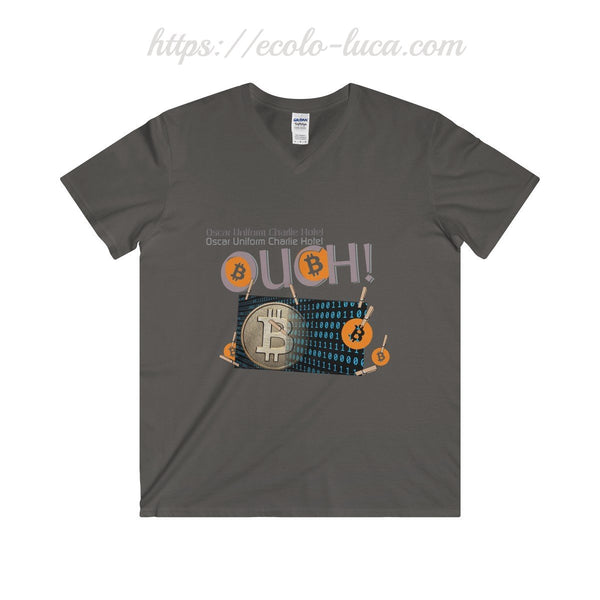 OUCH! Bitcoins Unisex V-Neck T-Shirt - Ecolo.luca