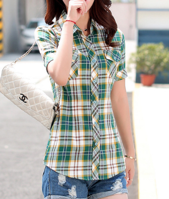 Plaid Short Sleeves Pockets Blouses - Ecolo.luca
