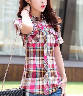 Plaid Short Sleeves Pockets Blouses