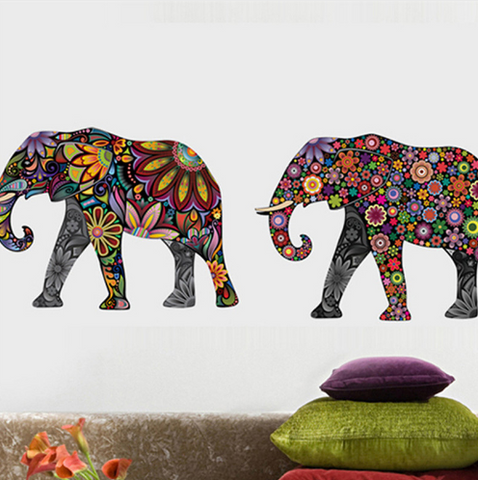 Elephant Flower Wall Removable Stickers