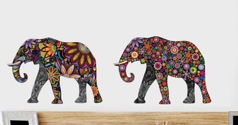 Elephant Flower Wall Removable Stickers - Ecolo.luca