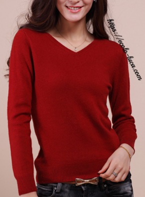 Cashmere Blend Sweater V-Neck Pullover - Ecolo.luca