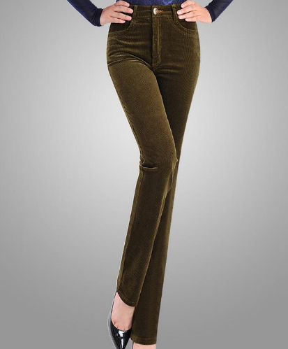 High Waist Stretch Corduroy Pants - Ecolo.luca