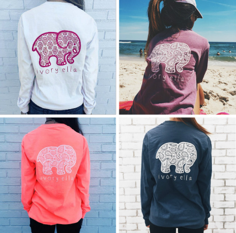Long Sleeve T-shirt Printed Elephant Knitted Poly/Cotton