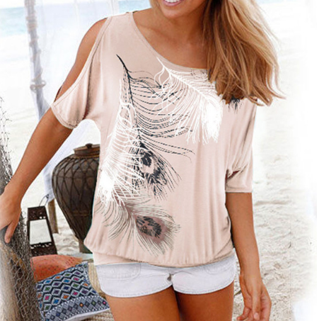 Feather Off Shoulder T-shirt - Ecolo.luca
