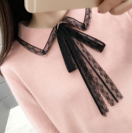 Lace Turn-down Collar Sweater - Ecolo.luca