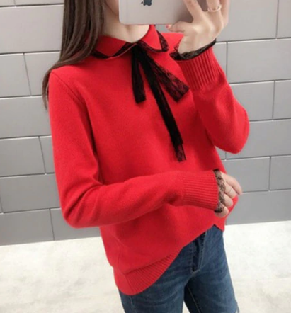 Lace Turn-down Collar Sweater