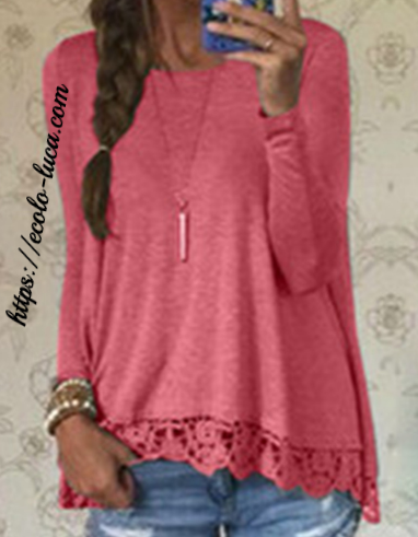 Elegant Long Sleeves Lace Crochet T-Shirt - Ecolo.luca