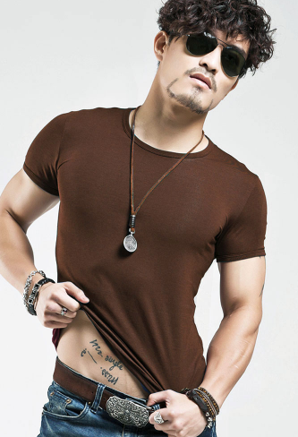 Men's Solid Color T Shirt Short Sleeves V or Round Neck - Ecolo.luca