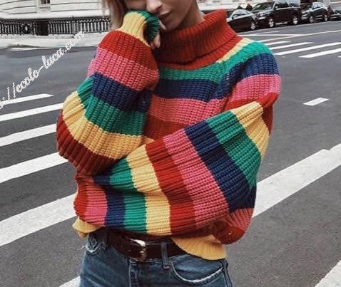 Acrylic Striped Turtleneck - Ecolo.luca