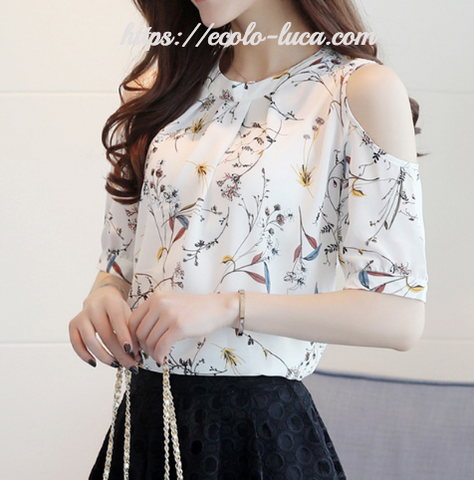 Printed Off Shoulder Shirt - Ecolo.luca