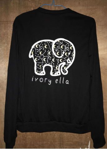 Long Sleeve T-shirt Printed Elephant Knitted Poly/Cotton - Ecolo.luca