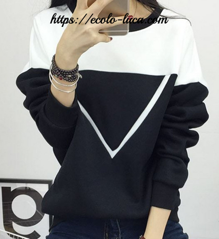 V Shape Black & White Sweater - Ecolo.luca