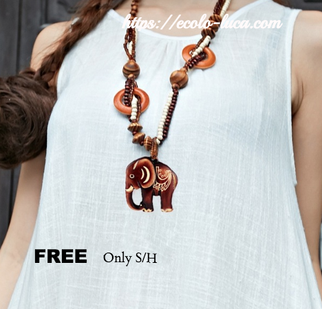 FREE: Handmade Wood Elephant Maxi Necklace - Ecolo.luca