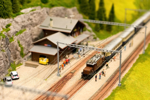 model train station with mini figures
