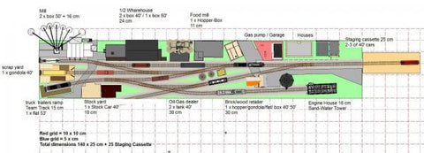 N scale track plan with switching