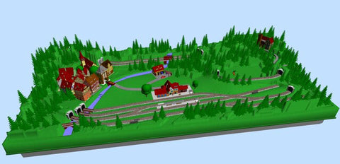 N scale track plan with a castle