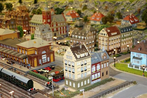 Zoomed out view of a small-scale model train and town