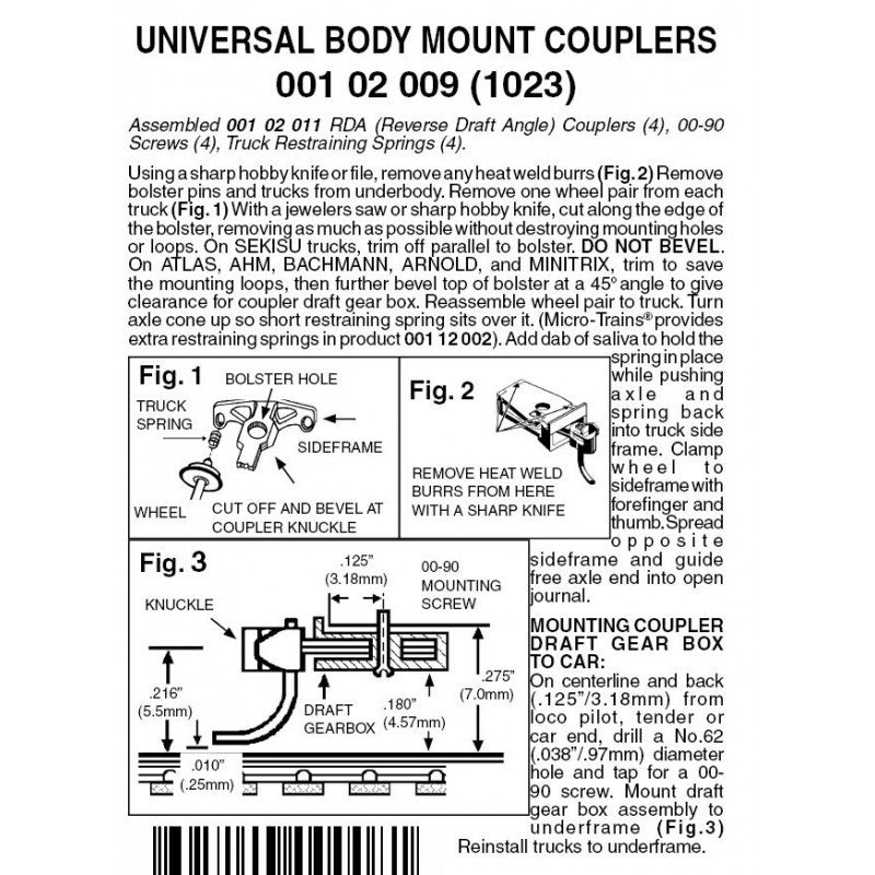 N Scale: 1023 Universal body mount coupler - 2 Pair - Assembled