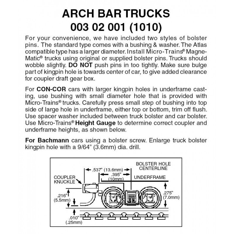 N Scale: Arch Bar Trucks w/ Short Extension Magne-Matic® Couplers  - 1 Pair - Assembled