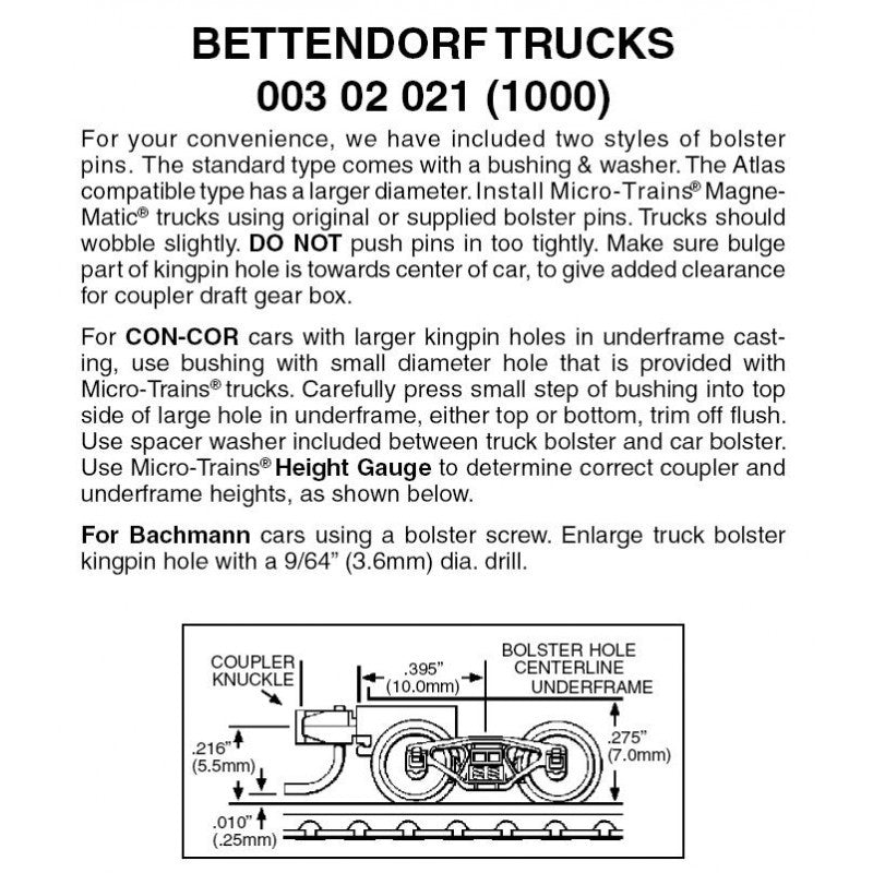 N Scale: Bettendorf Trucks w/ Short Extension Magne-Matic® Couplers  - 1 Pair - Assembled