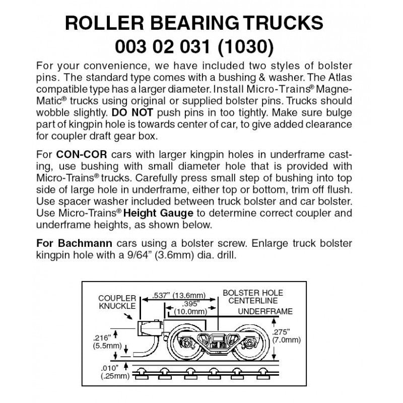 N Scale: Rolling Bearing Trucks w/ Short Extension Magne-Matic® Couplers  - 1 Pair - Assembled
