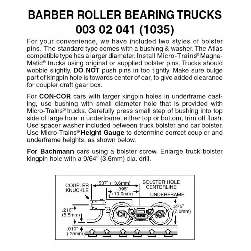 N Scale: Barber Rolling Bearing Trucks w/ Short Extension Magne-Matic® Couplers  - 1 Pair - Assembled