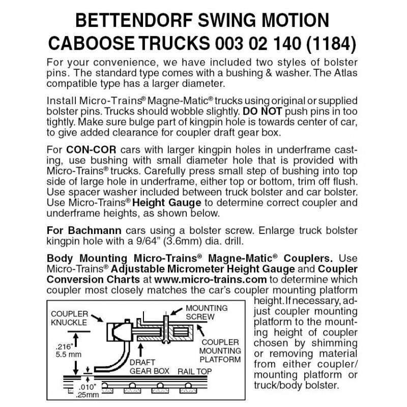 N Scale: Bettendorf Swing Motion Trucks  - 1 Pair - Assembled