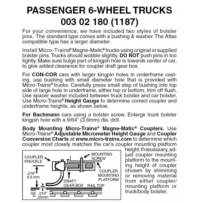 "N Scale: 6-wheel Passenger Truck w/ 36"" Wheels - 1 Pair"