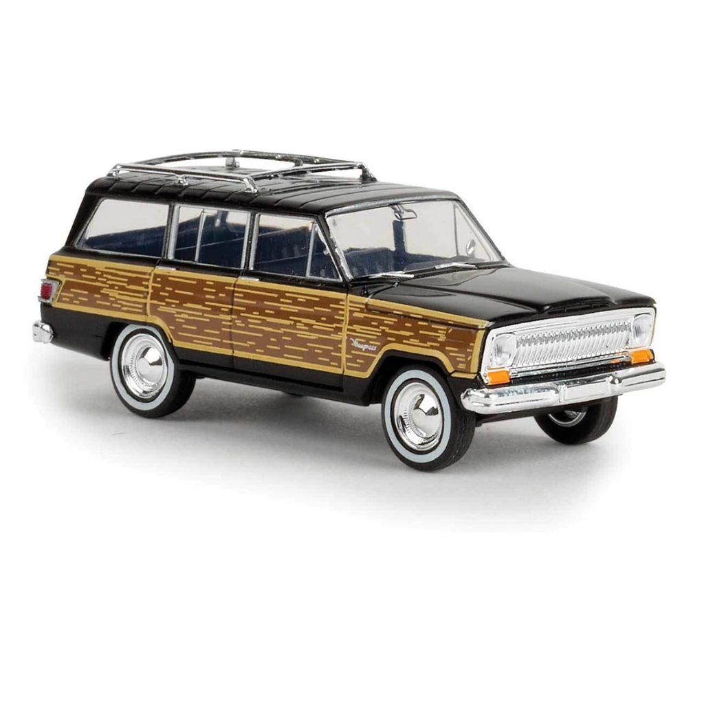 HO Scale: 1967 Jeep Wagoneer - Black w/ Woody Sides