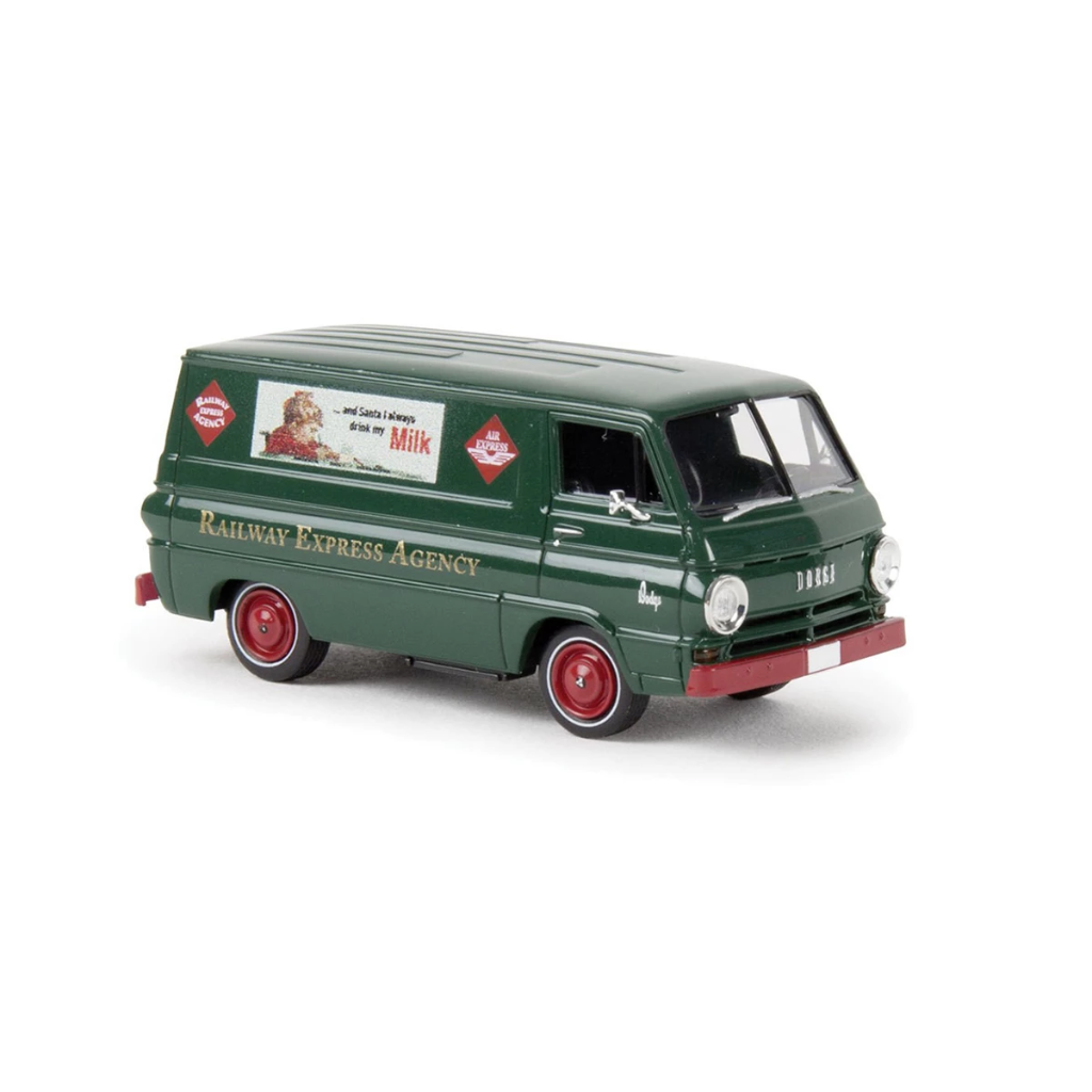 HO Scale: 1964 Dodge A 100 Cargo Van - Railway Express Agency - Milk Ad