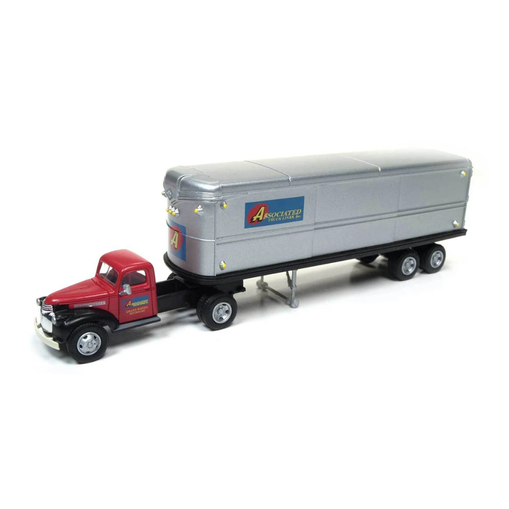 HO Scale: 1941-46 Chevy Tractor/Trailer Set - Associated Truck Lines