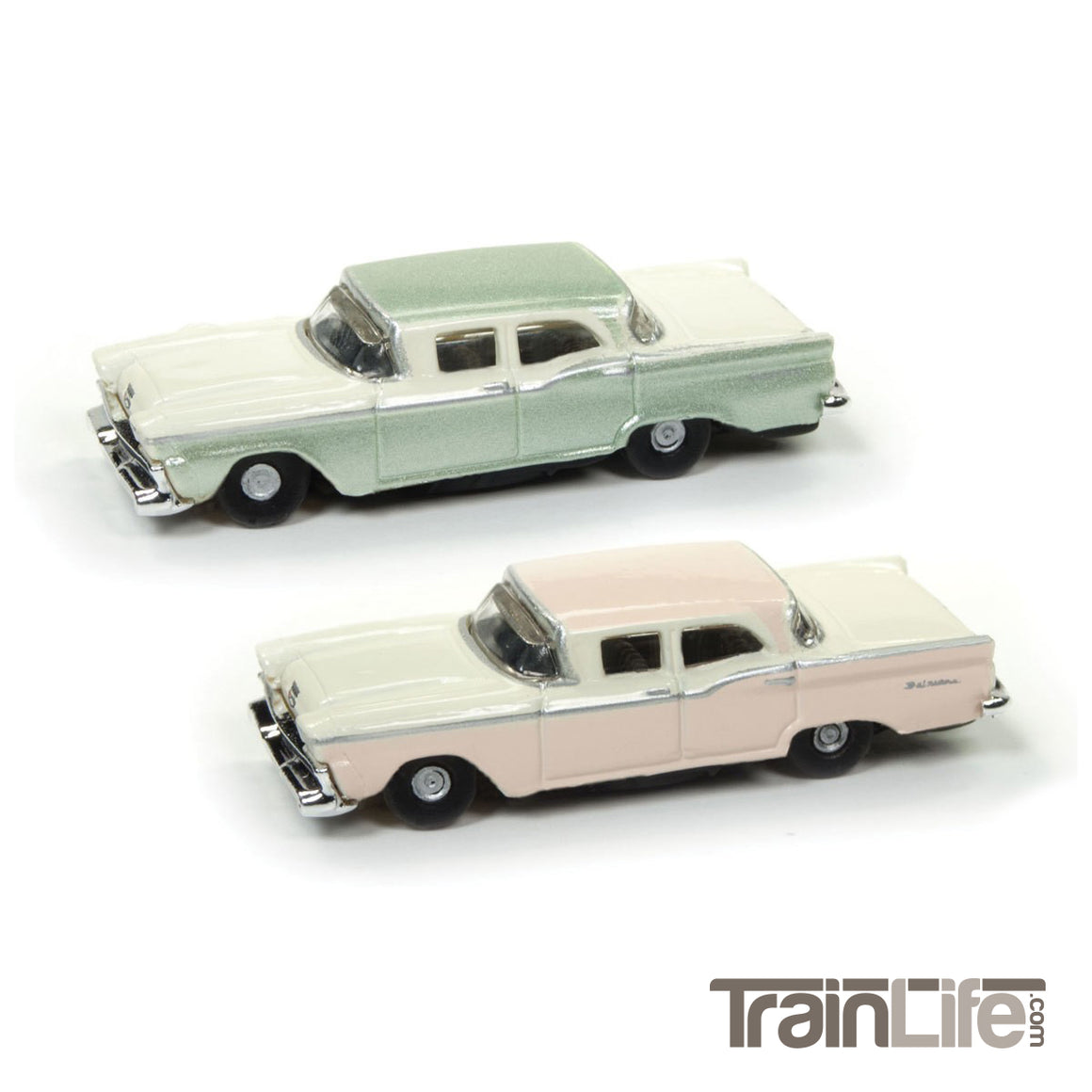 N Scale: 1959 Ford Fairlane Sedan - Bermuda Sand & Sagebrush Green - 2 Pack