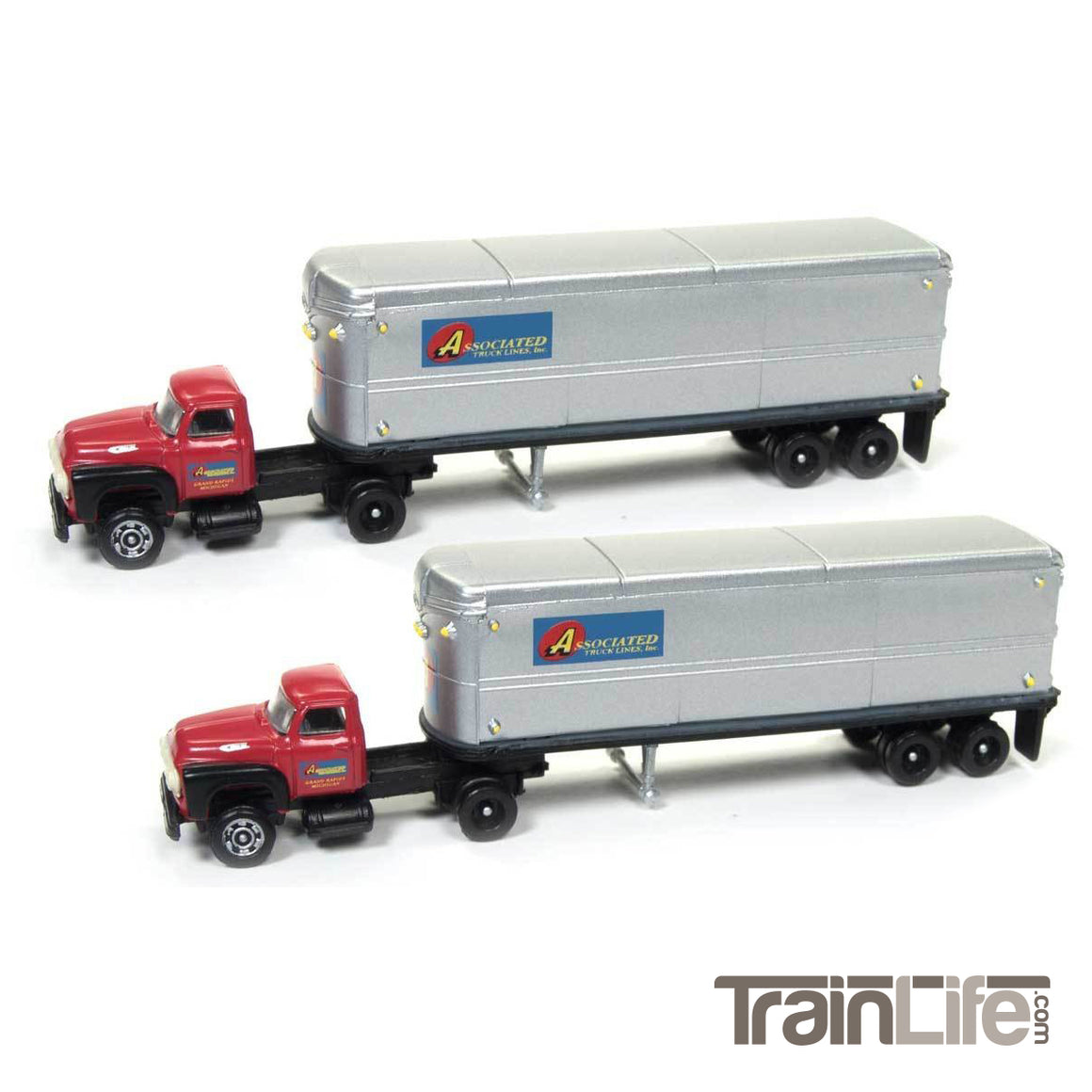 N Scale: 1954 Ford Tractor & Trailer Set - Associated Truck Lines - 2 Pack