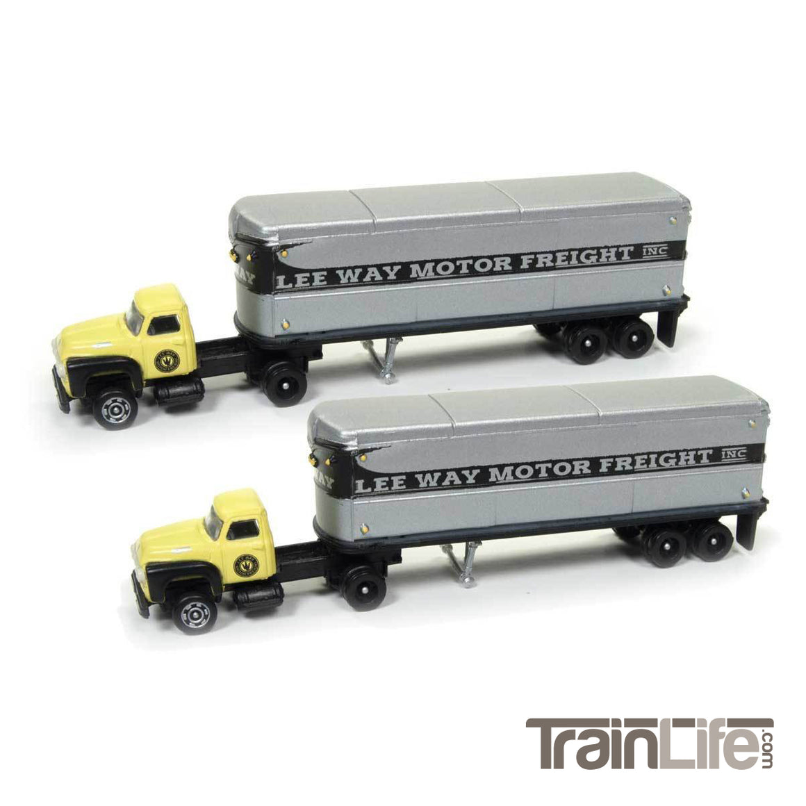 N Scale: 1954 Ford Tractor & Trailer Set - Lee Way - 2 Pack