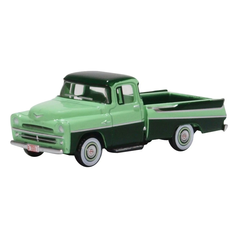 HO Scale: 1957 Dodge D100 Sweptside Pickup Truck - Forest & Misty Green