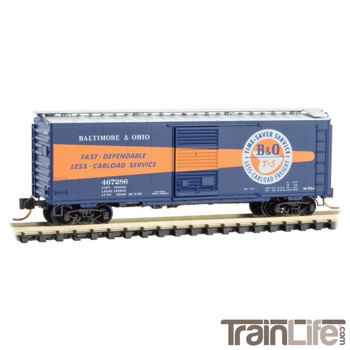 "N Scale: 40' Standard Box Car - B&O ""Time-Saver Service"""