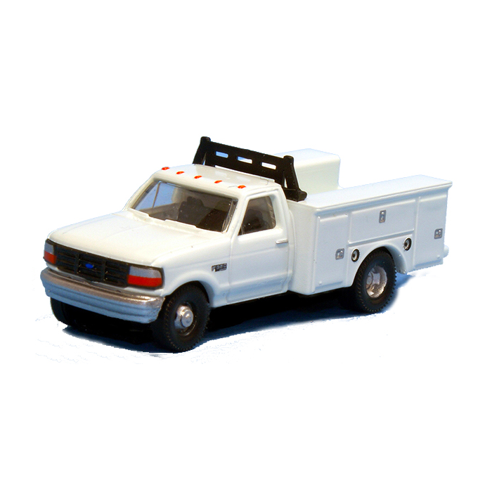 N Scale: 1992 Ford F-350 Regular Cab Service Trucks - DRW White - 2 pack