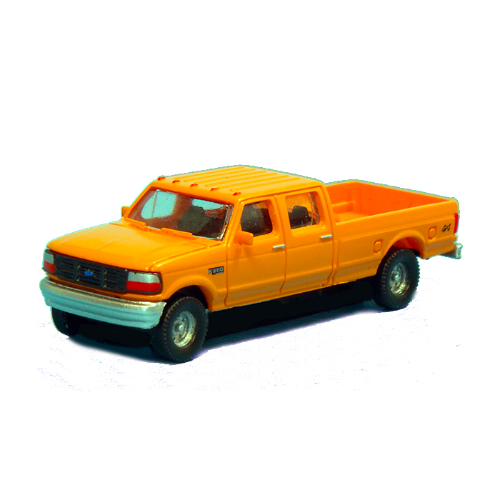 N Scale: 1992 Ford F-250 Series Super Duty 4X4 Crew Cab Pickup - 2-Pack - Yellow