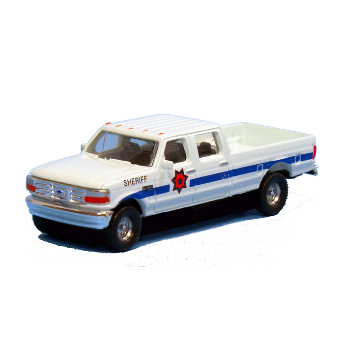 N Scale: 1992 Ford F-250 Series Super Duty 4X4 Crew Cab Pickup - 2-Pack - Sheriff