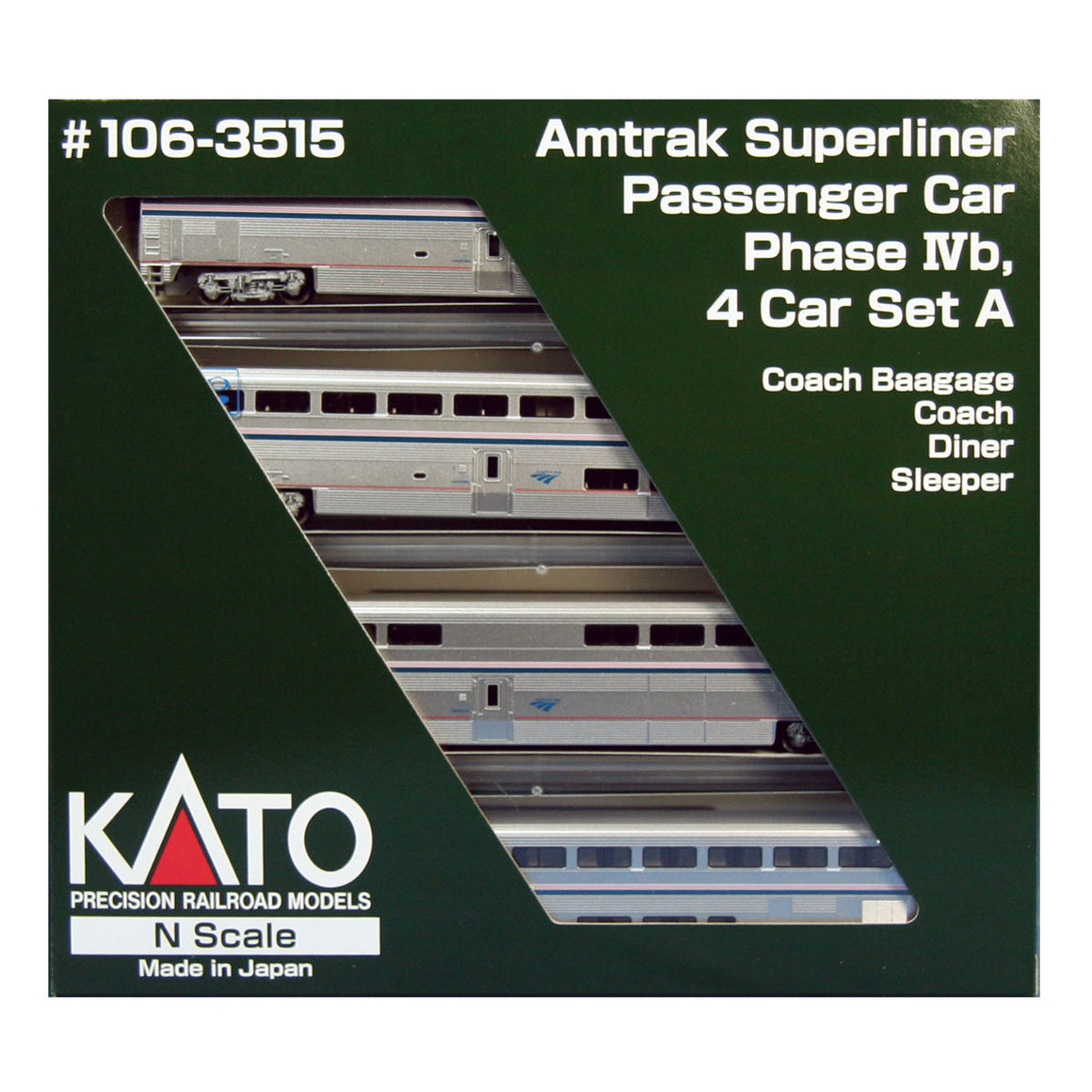 N Scale: Amtrak Superliner 4-Car Set - Phase IVb - Set A
