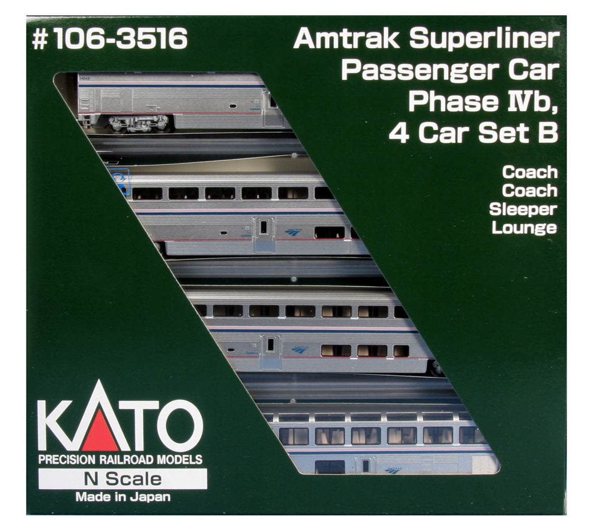 N Scale: Amtrak Superliner 4-Car Set - Phase IVb - Set B