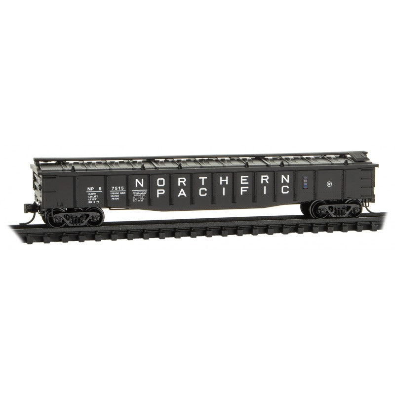 N Scale: 50' Steel Side Gondola - w/ Cover - Northern Pacific
