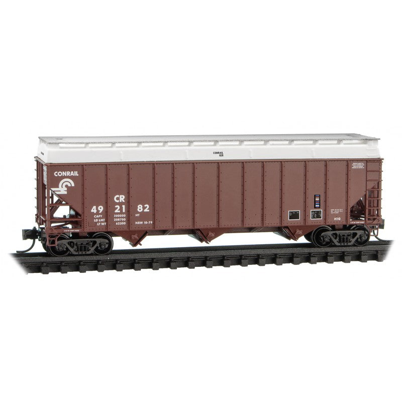 N Scale: 100-Ton 3-Bay Open Hopper - w/ Cover - Conrail