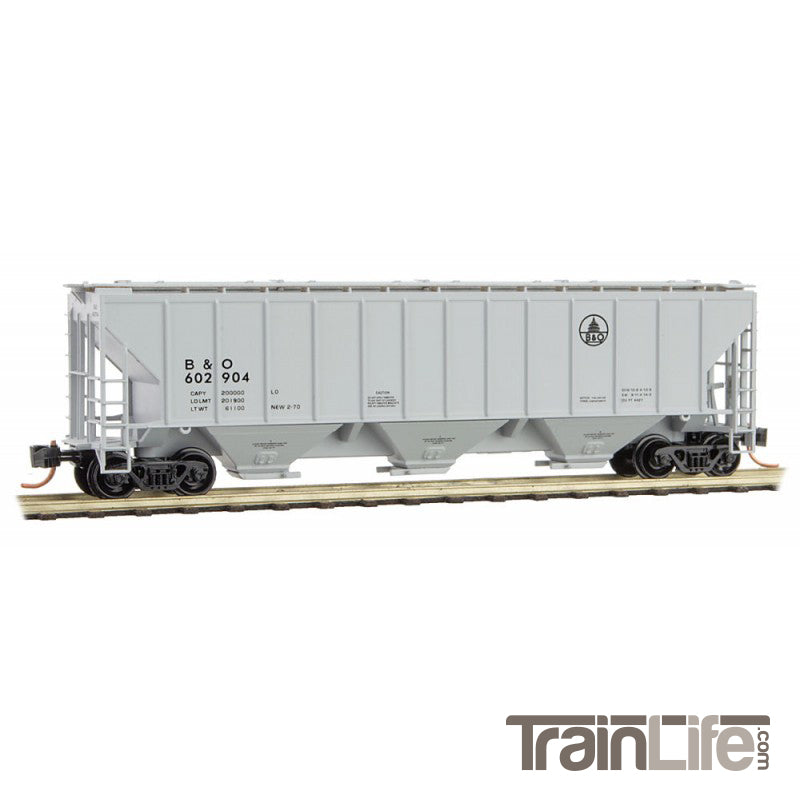 N Scale: 3-Bay High Side Covered Hopper - B&O