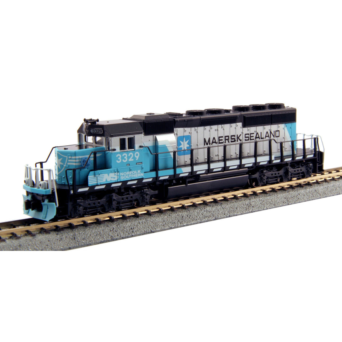 N Scale: EMD SD40-2 Mid-Production - DCC Equipped - Norfolk Southern 'Maersk'