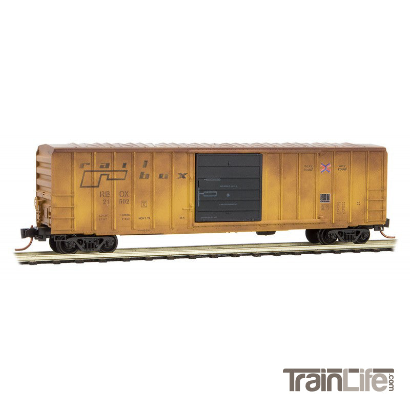 N Scale: 50' Rib Side Box Car - Railbox - New Year's Day Graffiti