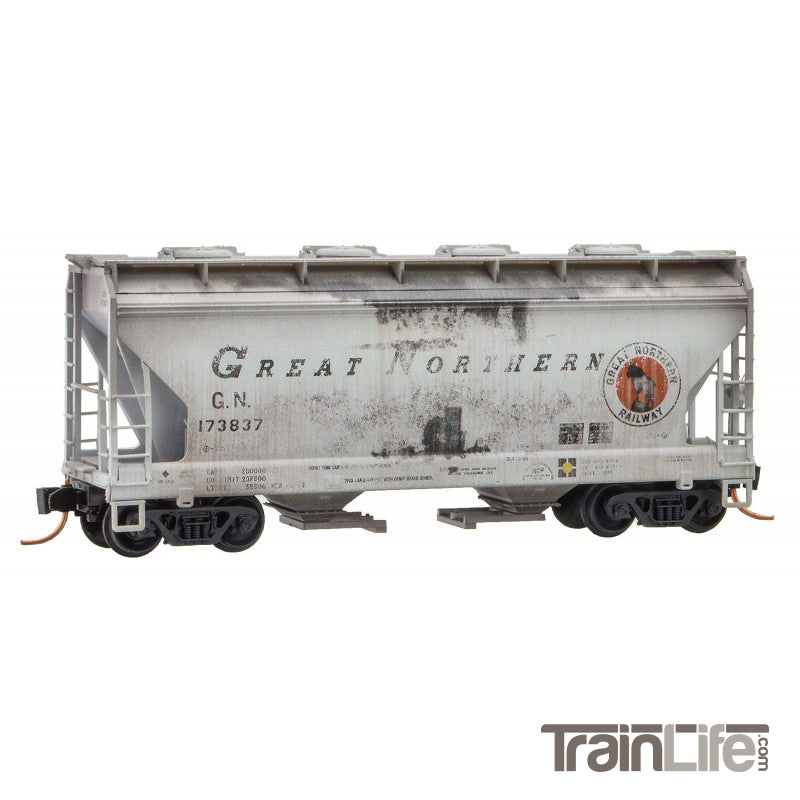 N Scale: 2-Bay Covered Hopper - Weathered - Great Northern - 3 Pack