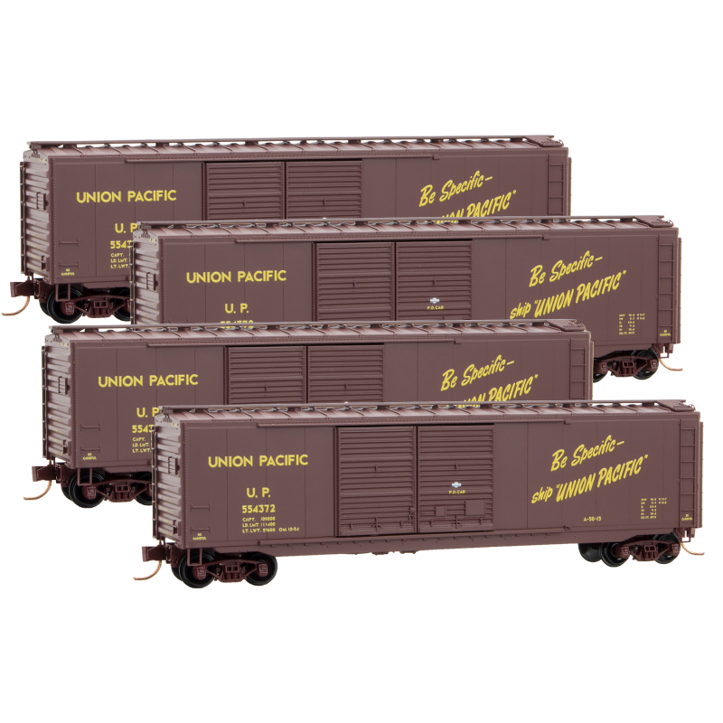 N Scale: 50' Standard Boxcar - Union Pacific - 4 Pack