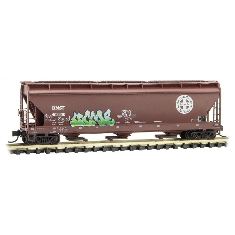 N Scale: 3-Bay Covered Hopper - Graffiti - BNSF